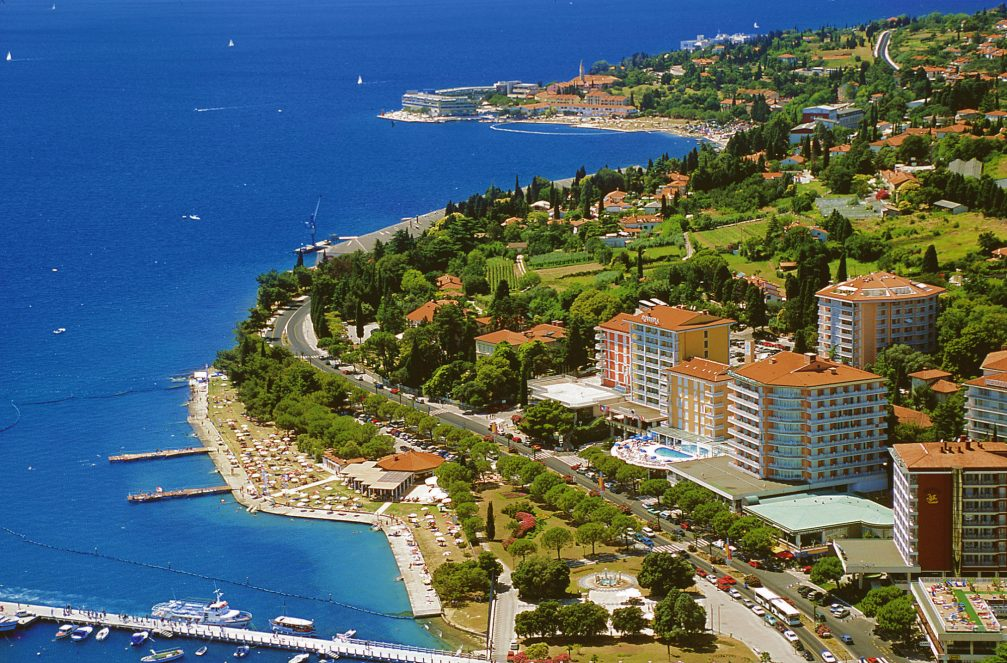 An aerial view of Portoroz, a Slovenian Adriatic seaside resort and spa town