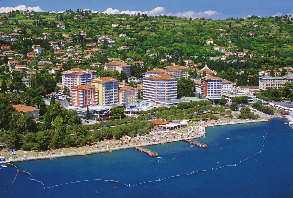 An aerial view of the Adriatic seaside resort of Portoroz