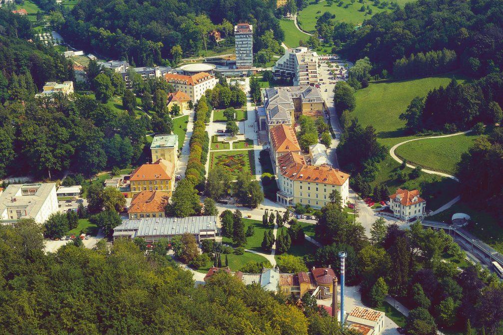 An aerial view of the Zdraviliski park in Rogaska Slatina, Slovenia