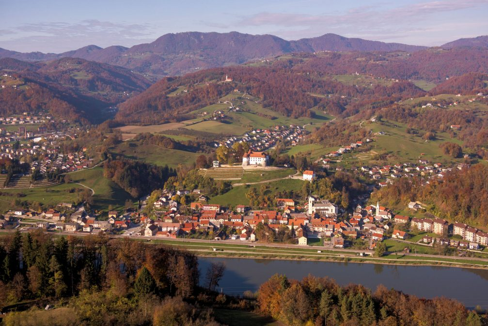 An aerial view of Sevnica, a town on the left bank of the Sava River in central Slovenia