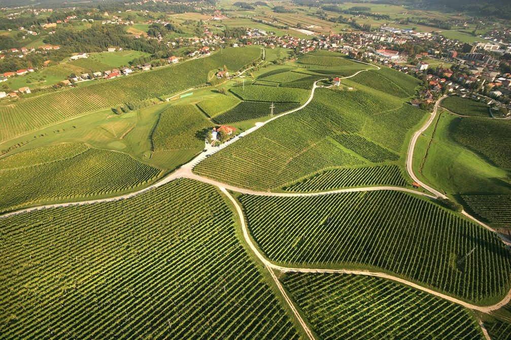 An aerial view of the vineyards at the Skalce village in Slovenia