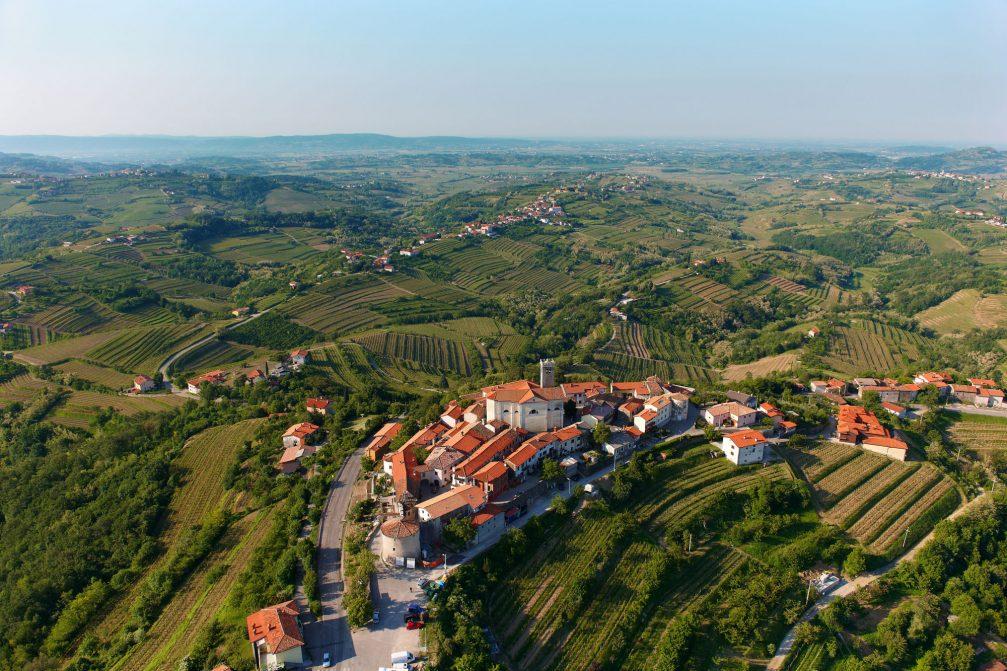 An aerial view of the Smartno village in Goriska Brda, Slovenia