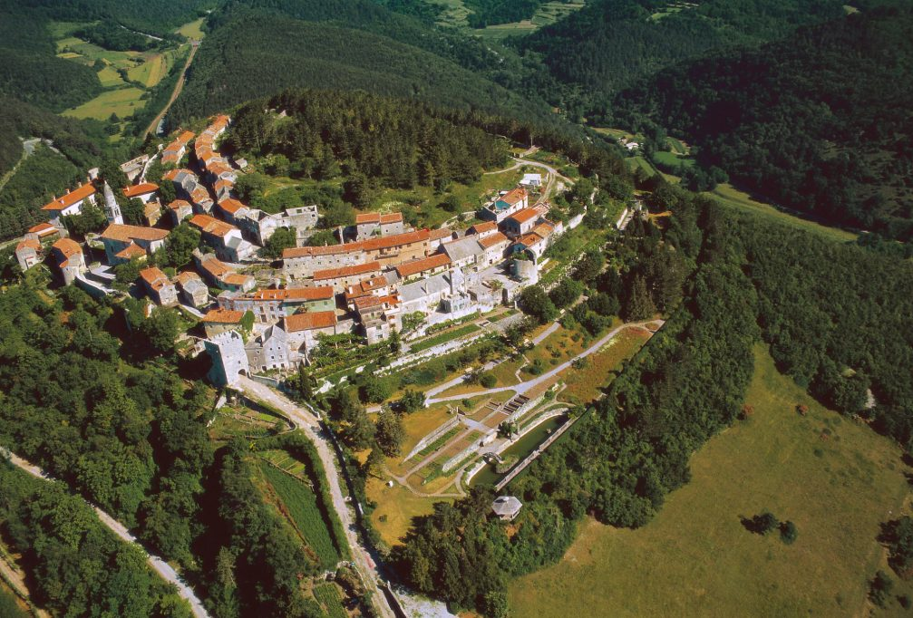 An aerial view of the picturesque village of Stanjel in the Karst Region of southwestern Slovenia