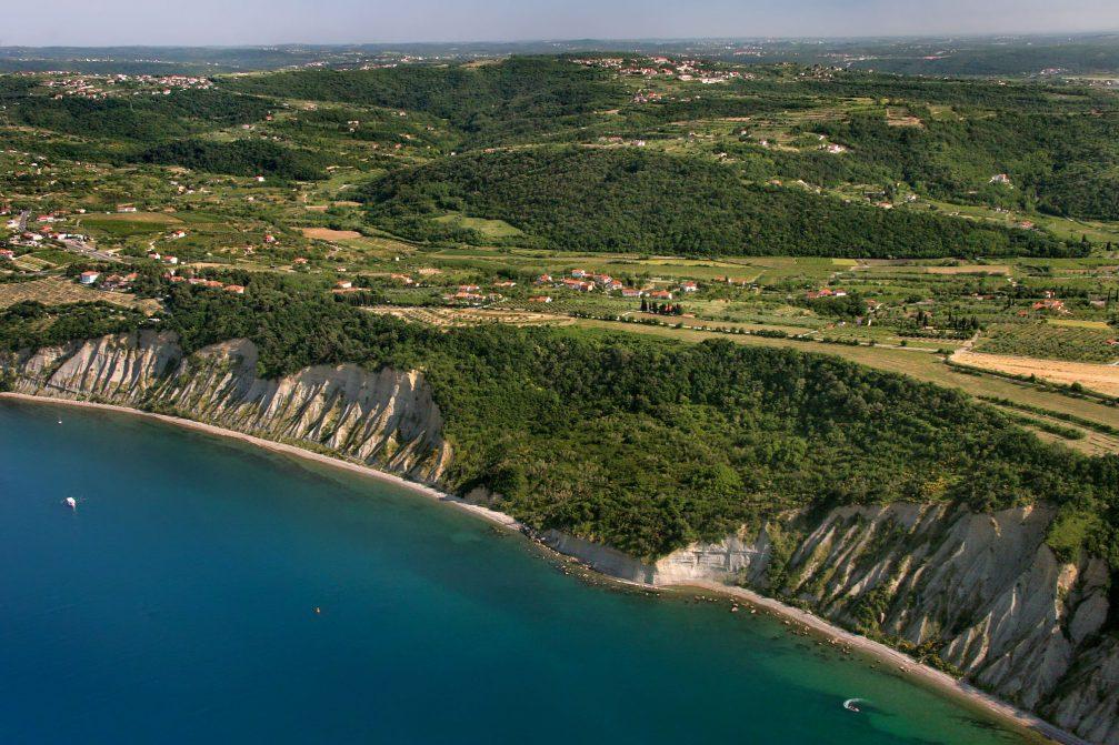 An aerial view of the Strunjan cliffs in Slovenia