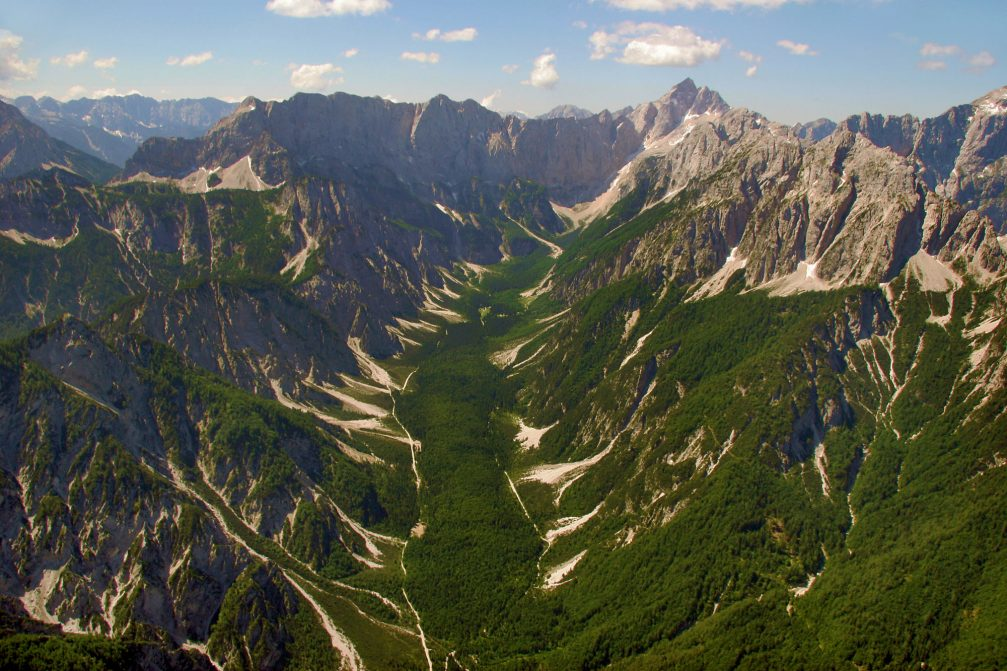 An aerial view of the Tamar valley in the far northwestern corner of Slovenia