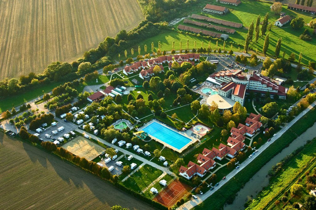 An aerial view of the Terme Lendava thermal spa in northeastern Slovenia
