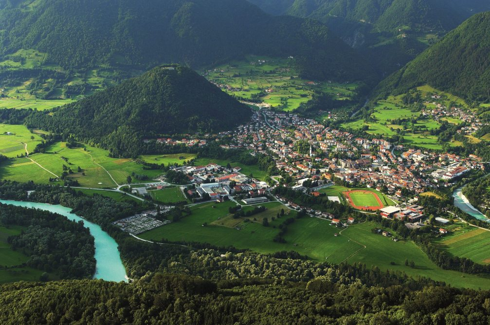 An aerial view of the town of Tolmin and the Soca river in Slovenia
