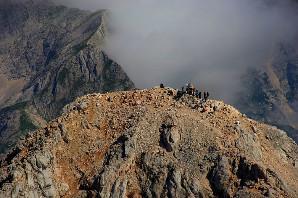 An aerial view of the Aljaz tower on the summit of Mount Triglav in northwestern Slovenia