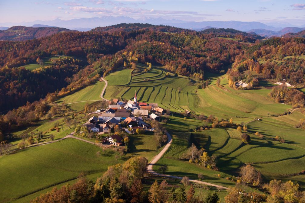 An aerial view of the Velika Goba village in central Slovenia