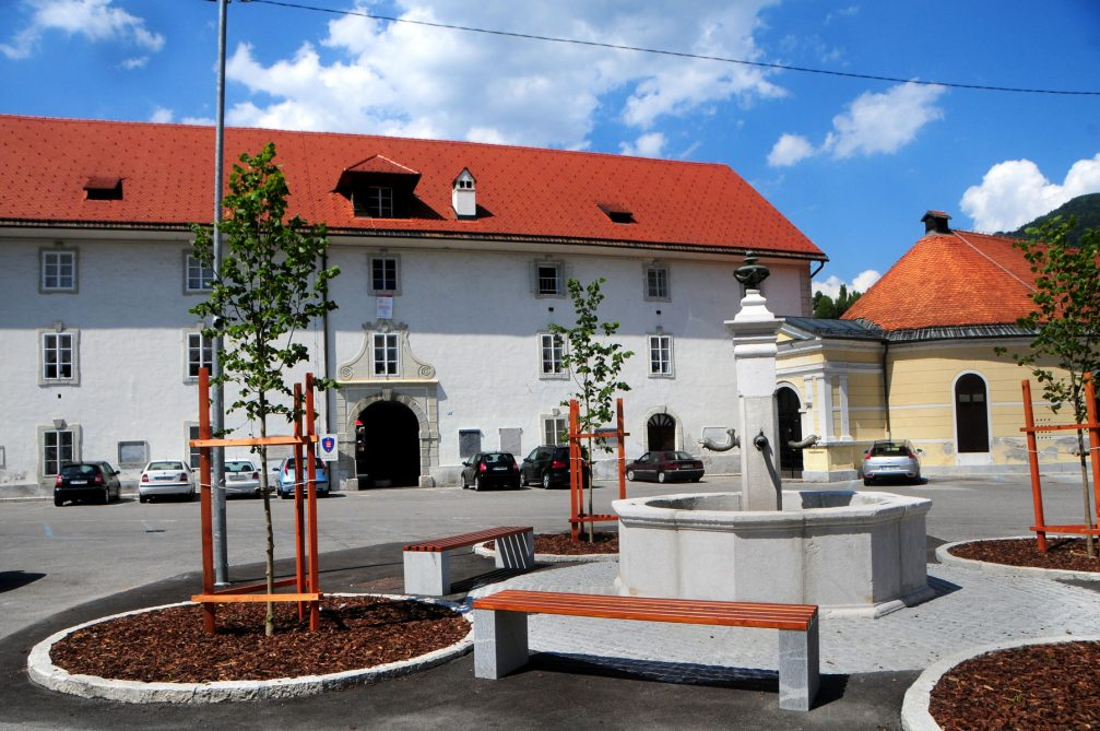The St Ahacij Square in Idrija with its beautiful fountain