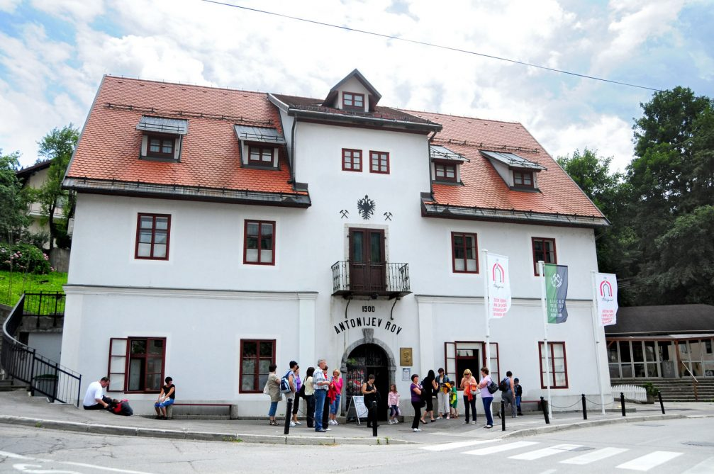 The building known as the Selstev House in Idrija with the entrance into Anthony's Shaft, the tourist mine