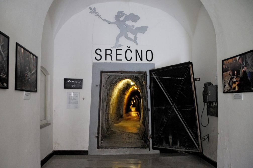 The entrance of the Anthony's Shaft tourist mine in Idrija, Slovenia