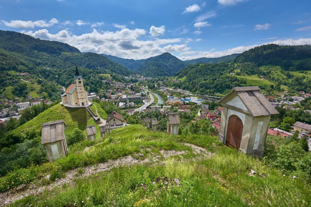 Elevated view of the town of Idrija in western Slovenia