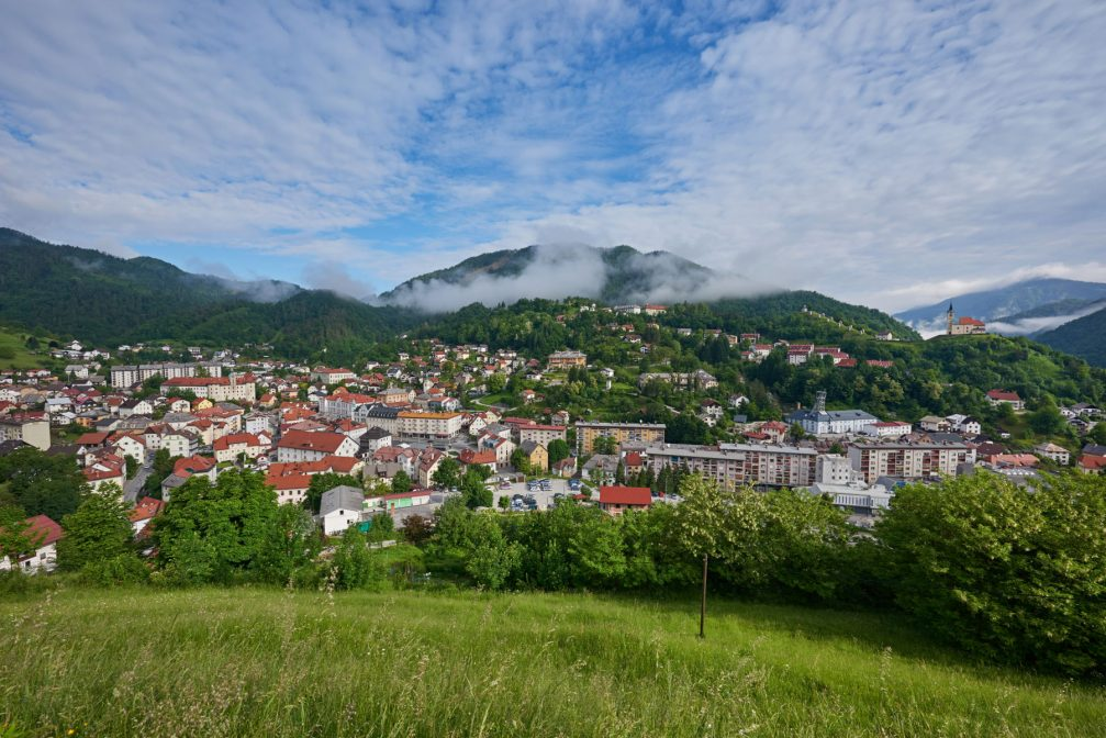 Panoramic view of the town of Idrija in western Slovenia