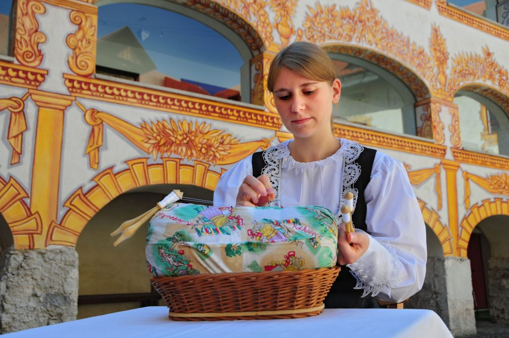 A young lace maker in action at the Gewerkenegg Castle in Idrija, Slovenia