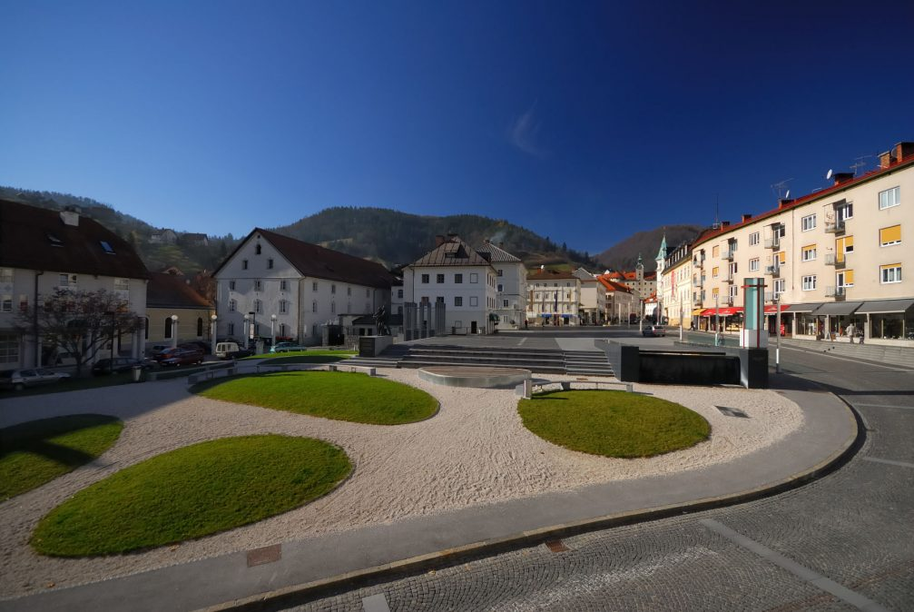 The large Mestni Trg Square in Idrija in western Slovenia