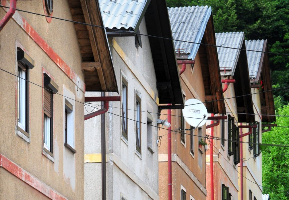 View of picturesque houses in the Rudarska Ulica street in Idrija, Slovenia