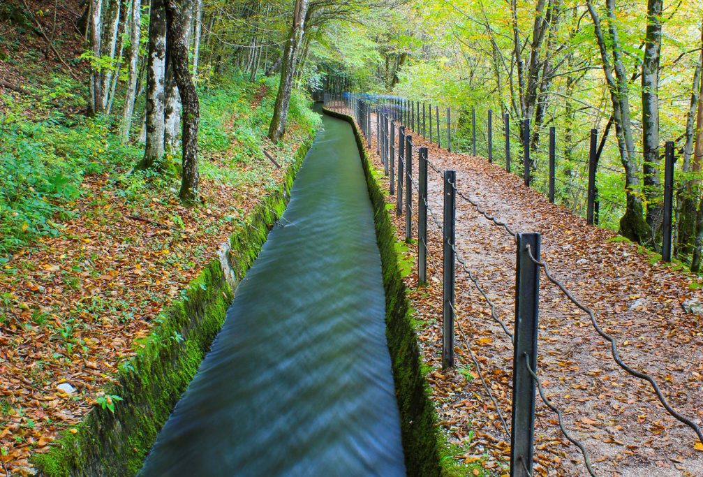 The Rake water channel along the nature learning path in Idrija, Slovenia
