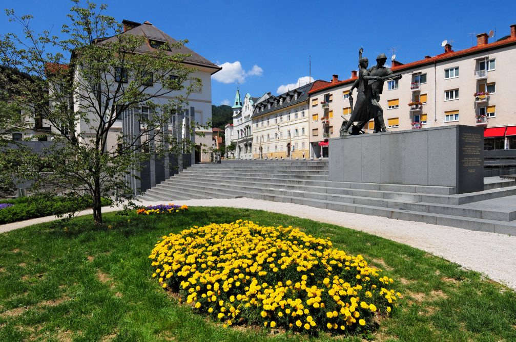 View of the Town Square in Idrija in Slovenia