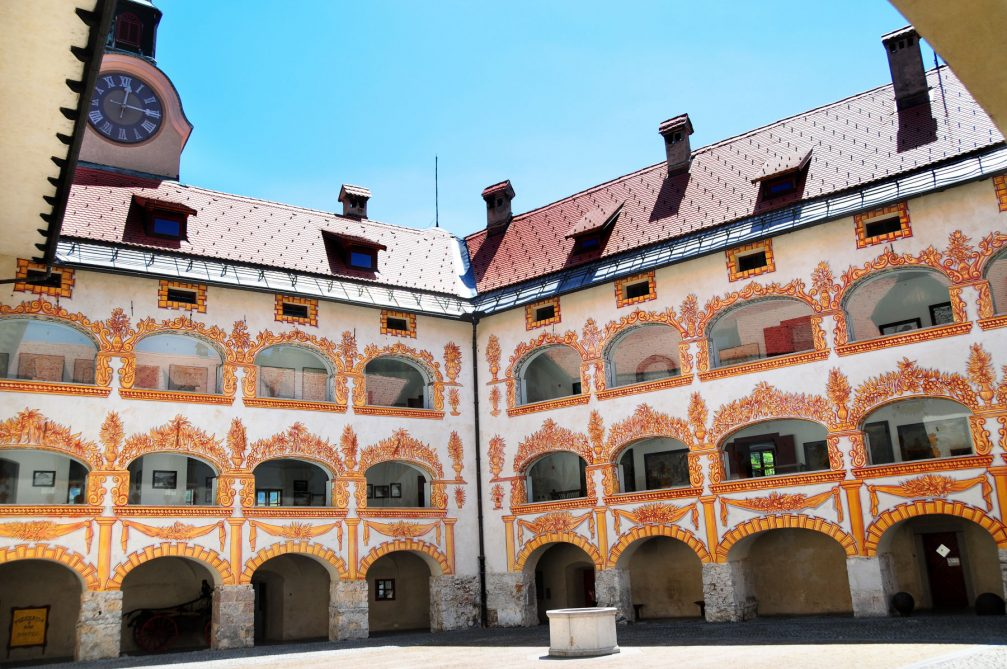 A decorated courtyard of the Gewerkenegg Castle in Idrija, Slovenia