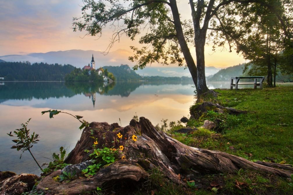 Lake Bled in Slovenia amid beautiful nature
