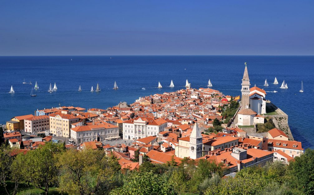 View of the town of Piran on the Adriatic coast of Slovenia