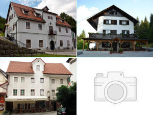Collage of guesthouses in Idrija, Slovenia