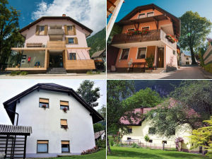 Collage of guesthouses in Bovec, Slovenia