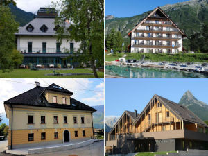Collage of hotels in Bovec, Slovenia