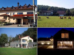 Collage of farm stays in the Postojna area, Slovenia