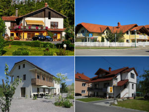 Collage of guesthouses in Postojna, Slovenia