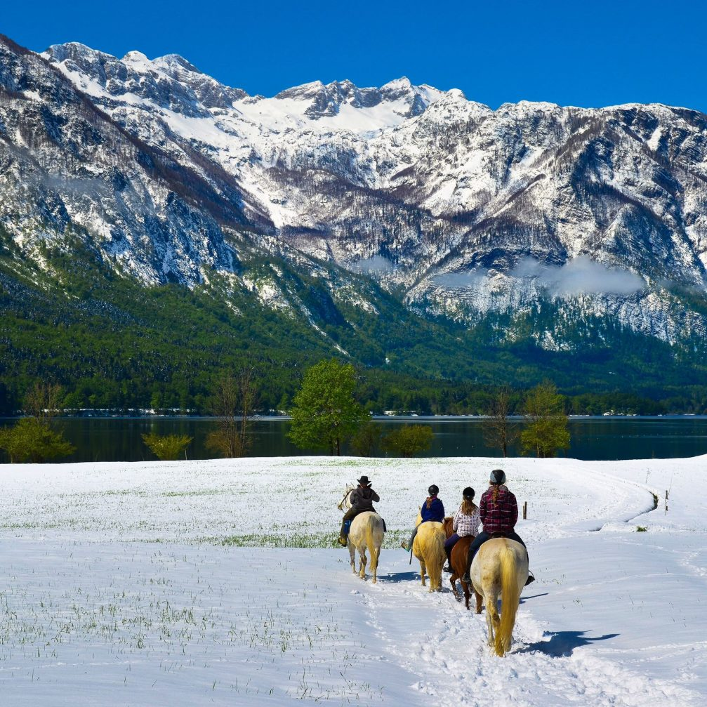 A group of tourists riding on Icelandic horses from the Mrcina ranch in Bohinj covered with snow