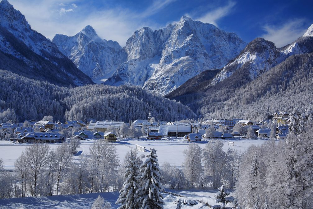 The alpine village of Kranjska Gora in northwestern Slovenia covered with a thick layer of fresh snow in the winter