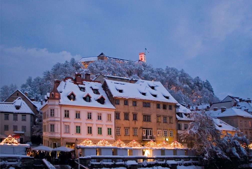 Ljubljana, the capital of Slovenia during festive season in the winter time with a cover of snow