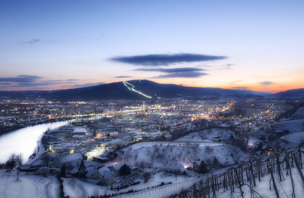 An elevated view of Slovenia's second largest city Maribor in the winter with a cover of snow