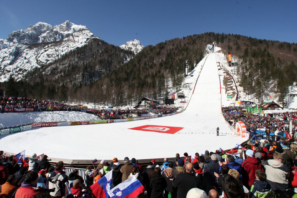 The ski flying event in Planica, Slovenia