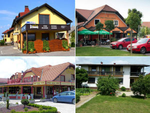 Collage of guesthouses in Ptuj, Slovenia