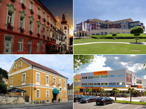Collage of hotels in Ptuj, Slovenia
