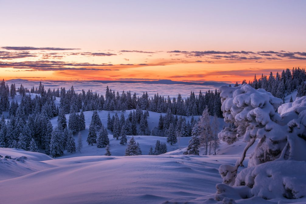 A winter sunset in the Slovenian Alps in Slovenia