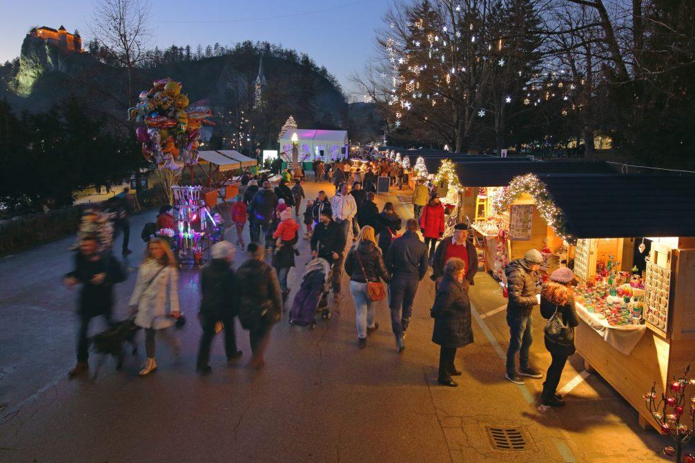 The Festive Winter Village in Bled alongside the lake