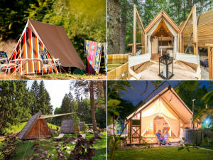 Collage of camping and glamping sites in Bled