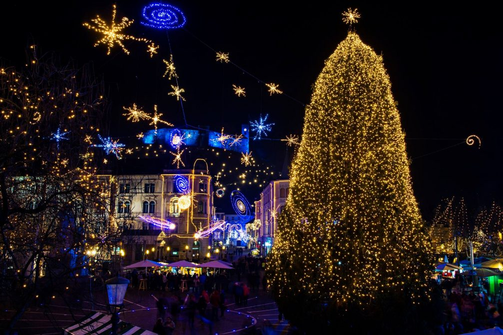 Ljubljana Old Town with festive light displays at Christmas time