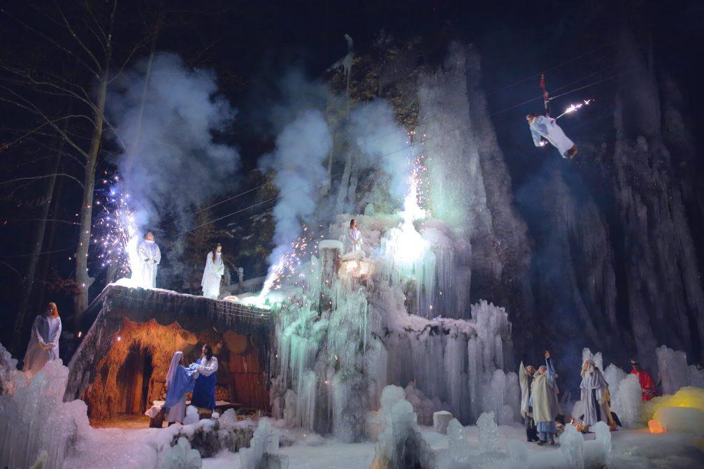 The live nativity scene in Ice kingdom in Mojstrana