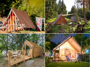 Collage of camping and glamping sites in Slovenia