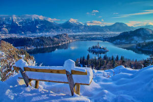 Bled Slovenia in winter with lots of snow