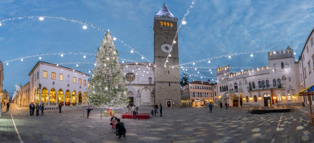 A view of the richly decorated Tito Square in the coastal town of Koper in Slovenia during Christmas time